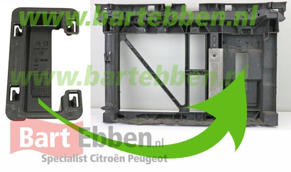 Citroen C3 1.4 EGR secundaire luchtpomp modificatie afdekking voorfront klikpaneel montage